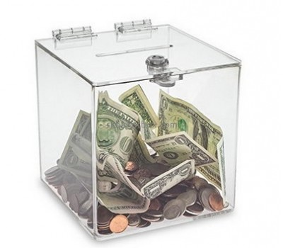 Custom acrylic fundraising collection boxes clear donation box charity money box DB-009