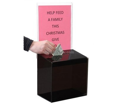 Customized acrylic donation boxes cheap large donation box money donation box DB-013