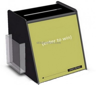 Plastic company custom black acrylic ballot box with sign holder BB-1154