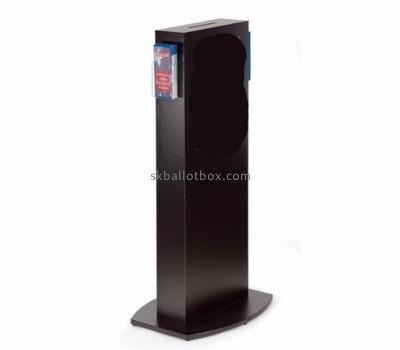 Plastic manufacturers custom black ballot box with sign holder BB-1155