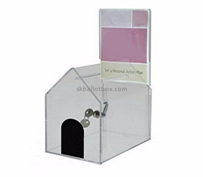 Acrylic items manufacturers custom lucite locking donation box BB-1163