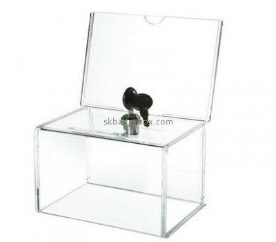 Acrylic plastic manufacturers custom clear plastic fabrication lockable ballot box BB-1173