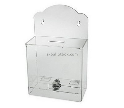 Plastic company custom acrylic ballot charity coin collection boxes BB-1203