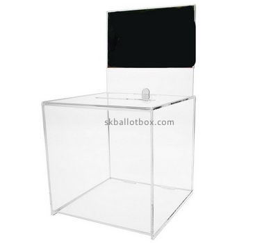 Customized clear acrylic ballot box with lock BB-1375