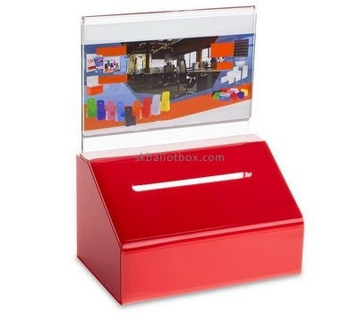 Customized red acrylic donation box BB-1399