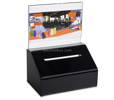 Customized black acrylic cheap donation boxes BB-1403