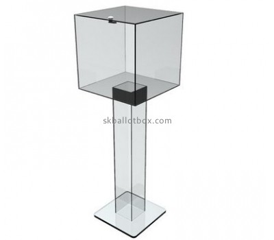 Customized clear acrylic floor standing charity collection boxes BB-1427
