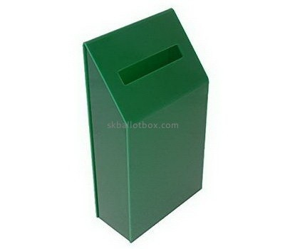 Customized green lucite donation boxes with locks BB-1442