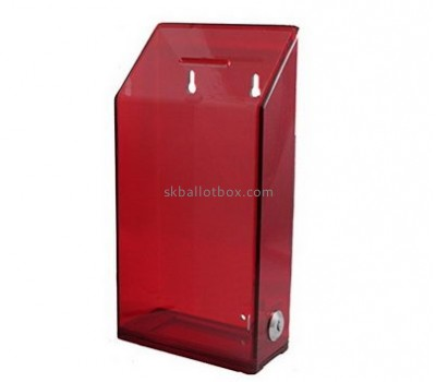 Customized clear red acrylic fundraising collection boxes BB-1444