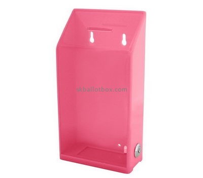 Customized clear pink acrylic charity money collection boxes BB-1445
