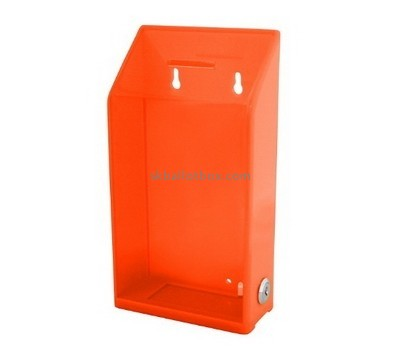 Customized orange acrylic collection boxes for charity BB-1448