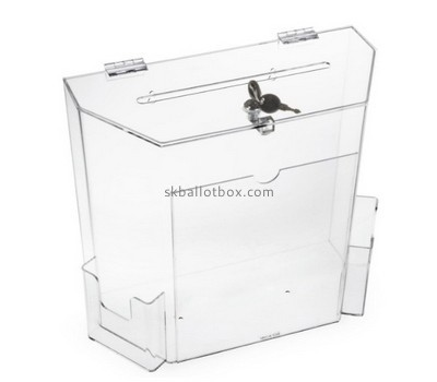 Bespoke clear acrylic ballot box with sign holder BB-1461
