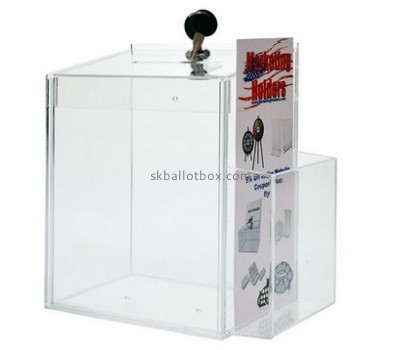 Bespoke transparent lucite ballot box with sign holder BB-1465