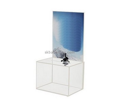 Bespoke clear lucite locked donation boxes BB-1477