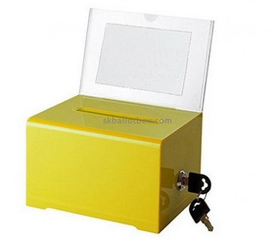 Bespoke yellow acrylic fundraising collection boxes BB-1491