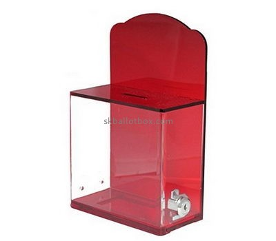 Bespoke red acrylic suggestion box with lock BB-1514