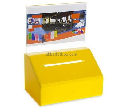Bespoke yellow acrylic donation collection boxes BB-1598