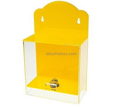 Bespoke yellow acrylic charity money collection boxes BB-1606