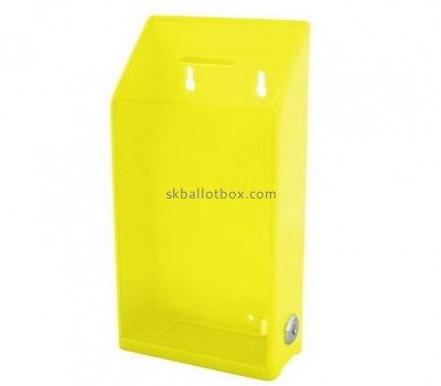 Bespoke yellow acrylic wall mounted collection box BB-1644