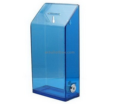 Bespoke blue acrylic wall mounted collection box BB-1651