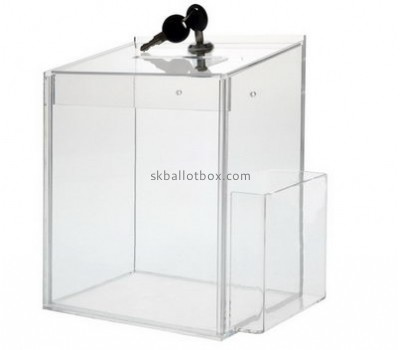 Customize clear acrylic donation box with lock and sign holder BB-1755