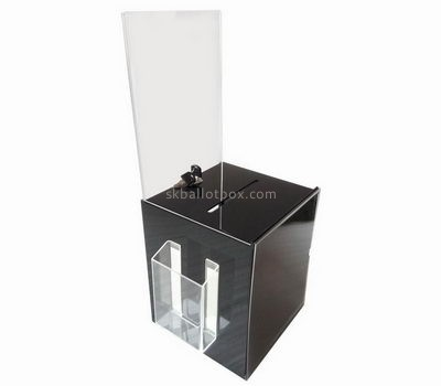 Customize black acrylic ballot box with sign holder BB-1756