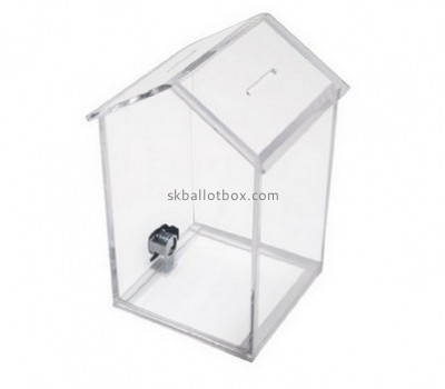 Customize clear acrylic house shaped donation box BB-1766