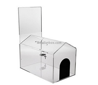 Customize acrylic house shaped donation box BB-1767