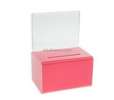 Customize red acrylic locking ballot box BB-1793