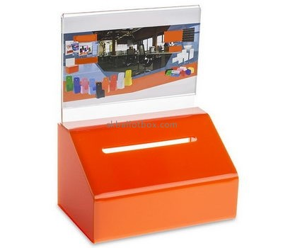 Customize orange acrylic ballot box with lock BB-1897