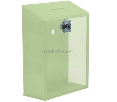 Customize green lucite lockable ballot box BB-1931