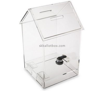 Customize acrylic house shaped donation box BB-2426