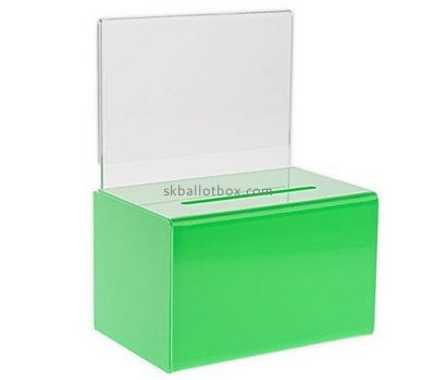 Customize green plastic charity collection boxes BB-2443