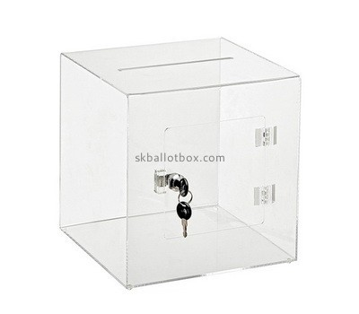 Clear plastic donation boxes with lock BB-2595