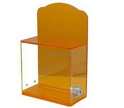 Orange acrylic ballot box with lock BB-2659