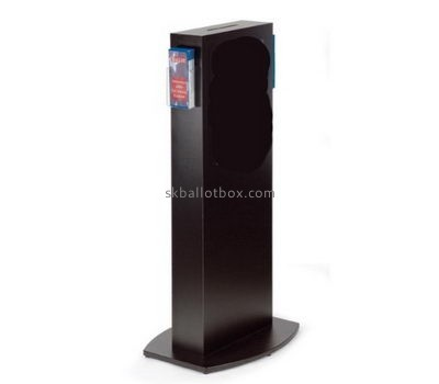 Floor standing black acrylic ballot box with sign holder BB-2667