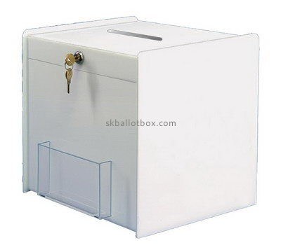 Customize white acrylic ballot box with brochure holder BB-2691