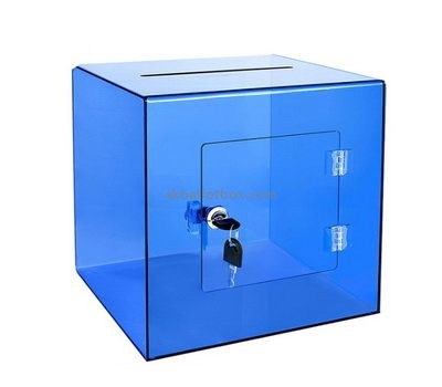 Customize clear blue acrylic ballot box BB-2695