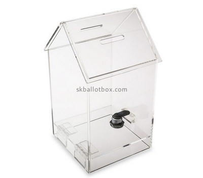 Custom house shape clear perspex ballot box BB-2727