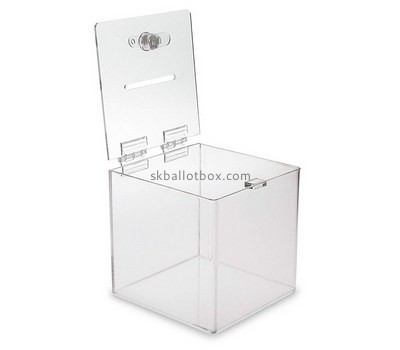 Custom square clear perspex donation box BB-2732