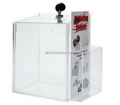 Custom acrylic suggestion box with leaflet holder BB-2743