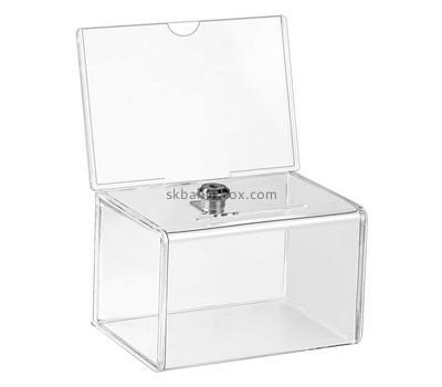 Custom acrylic lockable election box with sign holder BB-2754