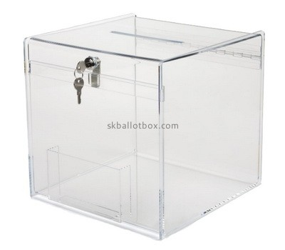 Custom clear acrylic lockable voting box with sign holder BB-2756